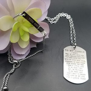 😍2/25.My Fiance stainless  steel Dog Tag Necklace and bracelet.